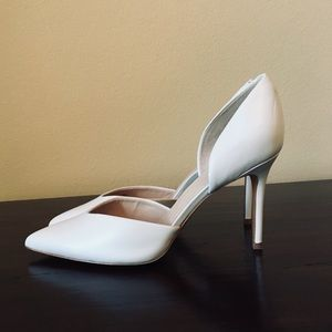 Marc Fisher White Leather Point-Toe Heels